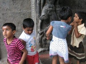 Children at the Kapaleeshwarar Temple